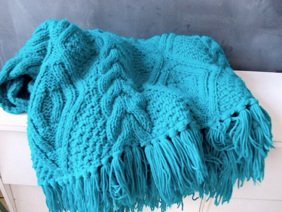 Teal Cable Knit Afghan : Vintage Throw Blanket