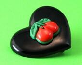 Heart & Cherries Brooch - Rockabilly Cherry