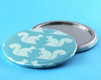Pocket Mirror Retro Squirrels - Kawaii - Teal