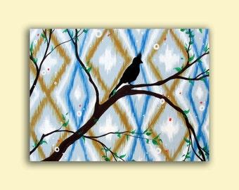 Blue Ikat Painting..Bird Art...Original HUGE Abstract Contemporary Modern Bird Art by HD Greer