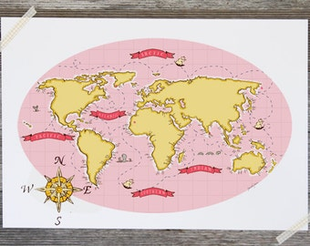 Children's Wall Art Print - Nautical Map (Pink & Yellow) - Kids Nursery Room Decor