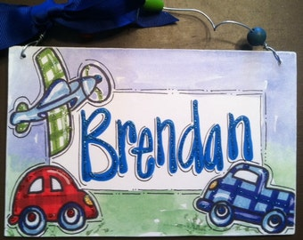 Hand personalized truck, plane and car boys room name sign