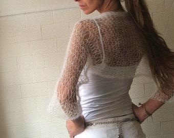 Boho White shrug Ivory white loose knit shrug bridal shrug perfect for summer boho style