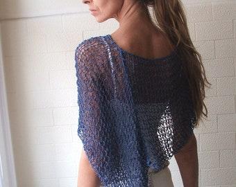 Blue Poncho, blue sapphire poncho, blue summer poncho