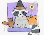 Halloween Witch Raccoon with Little Bat  Friend - Original Watercolor - pumpkin witch's hat