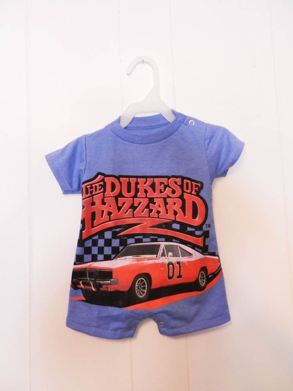 Upcycled 9 month Dukes of Hazzard baby romper onesie made from men's t-shirt
