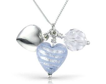 Blue Cascade Heart Charm Necklace