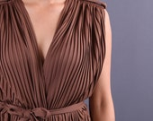 Pleated Wrap Top / Accordion Pleated Grecian Godess Top / Brown