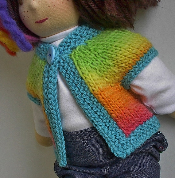 Waldorf Doll Clothes Wool Rainbow Sweater Vest with Turquoise Trim  for 14 to 16 Inch Waldorf Dolls
