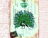 Vintage French Peacock  Postcard Tags