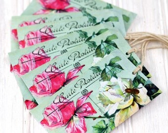 Roses and Bee Postcard Gift Tags
