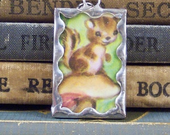 Chipmunk Pendant - Soldered Glass Charm with Vintage Book Illustration - Chipmunk on a Mushroom Charm - Altered Book Charm
