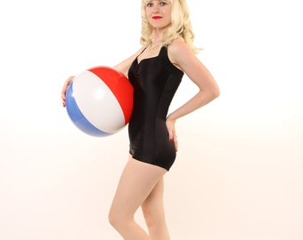 The Noir Maillot One piece Black Retro Pin Up Swimsuit Made to Order