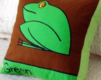 Green Frog Color Learning Pillow for Children / boy room decor / toddler child's bedding / nursery / playroom / green cartoon frog pillow