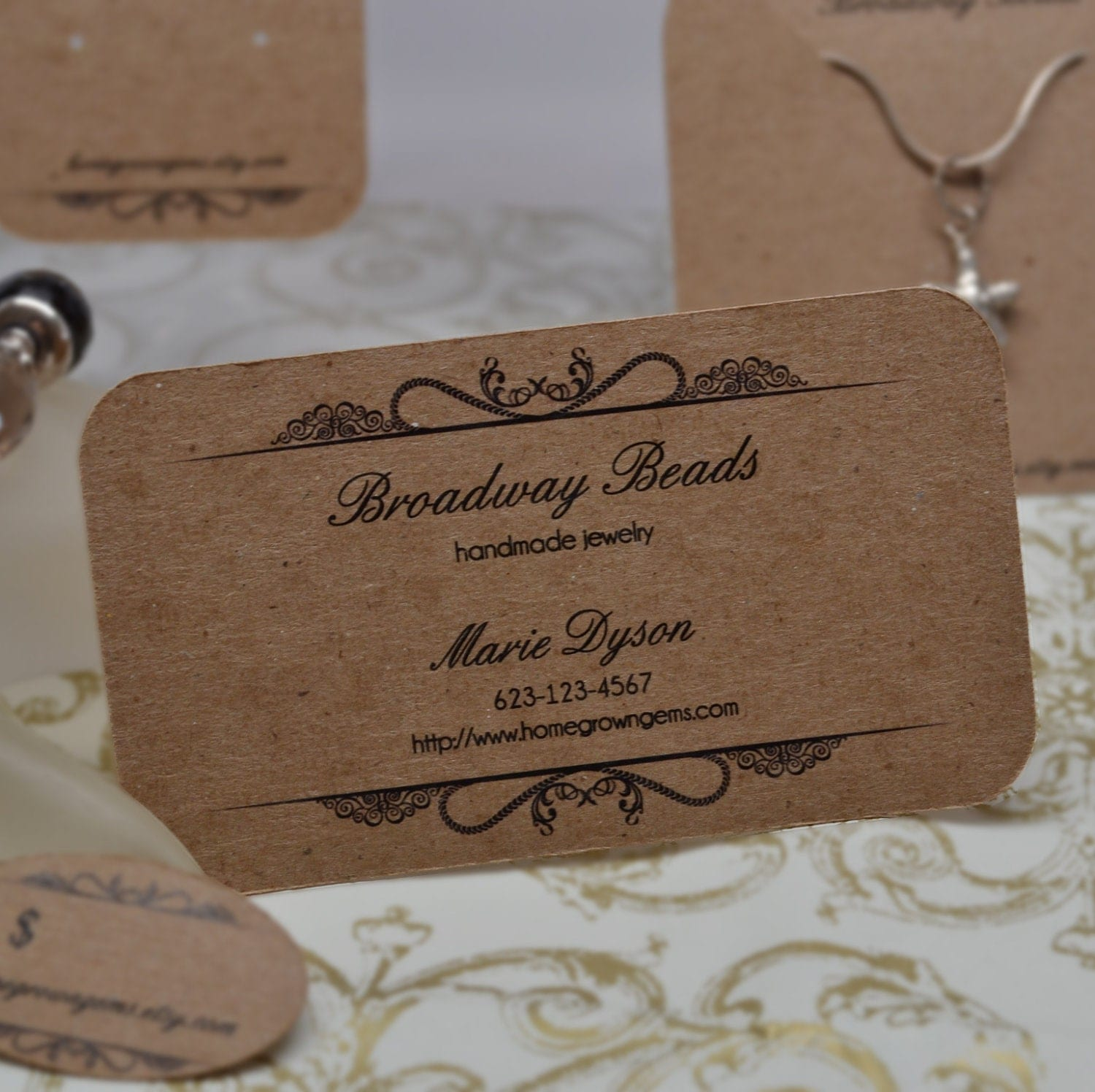 custom business cards jewelry display ornate by homegrowngems