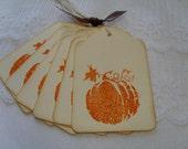 Orange Pumpkin Tags Handmade Gift Tags Favor Tags Stamped- Vintage Orange LAST SET