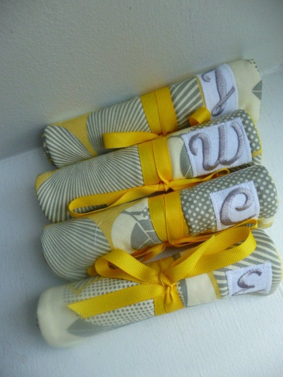 Bridesmaids Gift Jewelry Rolls Set of 6 The Perfect Bridesmaids w/monogram - FREE Shipping