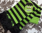Halloween Green and Black Ruffled Leg Warmers with Frankenstein's Monster Clippie.
