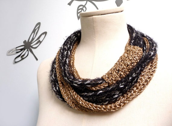 Scarf necklace, Loop scarf, Infinity scarf - Knitted scarlette, neckwarmer - Black and Gold - Handmade - ENDLESS LOOP