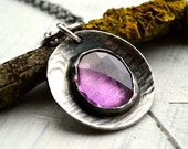 Modern Rustic Textured Disc Necklace with Free Form Rose Cut Pink Sapphire   Handmade Jewelry