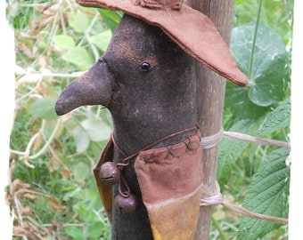 Primitive Fall Halloween Crow Witch Pilgram Ornament Doll 293e  Crows Roost Prims epattern  SALE immediate download