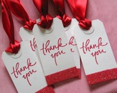 Thank You Bridesmaids Gift Tags, Wedding Favor Tags, Red, Set of 5