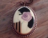 SALE!!  Just 22.00!  Price marked down from 27.50!Vintage Acrylic Cabochon Necklace with Lovely Art-Deco Lady