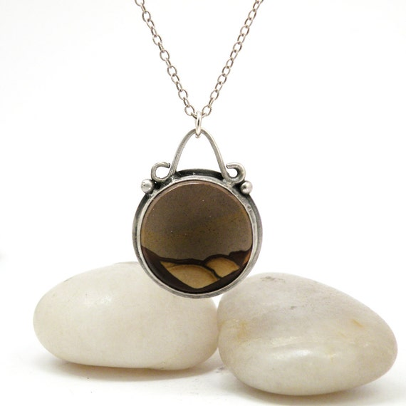 SALE Sterling Silver Picture Jasper Necklace Earthy Rustic Stone Jewelry - Desert at Dusk Necklace
