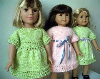 American Girl 18 inch doll Knitting pattern Lime Cooler DRESS (38)