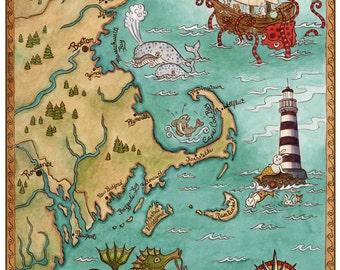 "New England Coastal Map Cape Cod Sea Monster Art Print 11"" x 14"""