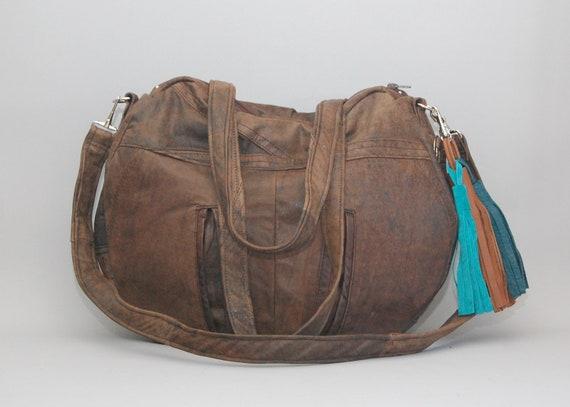 brown leather Tazetta navajo bag / southwestern / large slouchy bag / boho style / Tazetta Bag