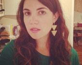 Double Triangle Drops - Brass Triangle Dangle Earrings