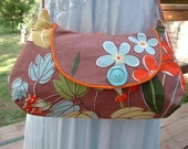 Roxie Bag Vintage Fabric Handbags Boomerang Barkcloth & 60's Floral