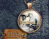 Free Hugs - copper & glass pendant with a dog and a boy