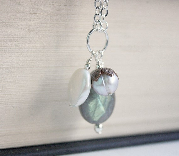 Labradorite Teardrop Fresh Water Coin Pearl and Grey Pearl with Antique Copper Bead Cap necklace Free USA Shipping