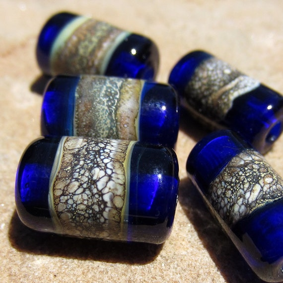 Lampwork Glass Beads Cobalt Blue Tubes silvered ivory free combined shipping sra