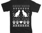 Mens Cats Ugly Christmas Sweater TShirt (Black Short Sleeve)