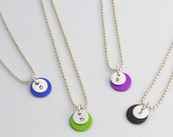 Initial pendant or bracelet with color