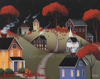 Primitive Halloween Folk Art Print Wickford Village by Catherine Holman