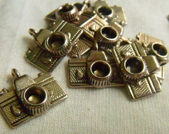 Camera Charms Antique Silver Finish 13x9mm 12 Pcs
