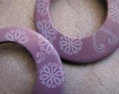 Purple Wood GoGo Discs - Dangle Earrings