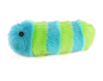 Caterpillar Stuffed Animal Cute Plush Toy Caterpillar Kawaii Plushie Lexi the Lime Green and Aqua Striped Snuggle Worm Small 5x14 Inches