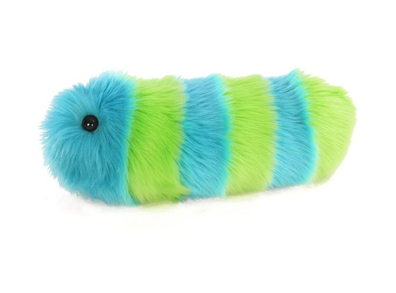 Caterpillar Stuffed Animal Cute Plush Toy Caterpillar Kawaii Plushie Lexi the Lime Green and Aqua Striped Snuggle Worm Medium 6x18 Inches