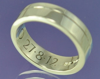 Personalised Hand Engraved Ring. Sterling Silver.