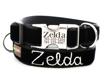 Metal Buckle Lazer Engraved Personalized Velvet Dog Collar - 14 Colors - With Hand Embroidered Name