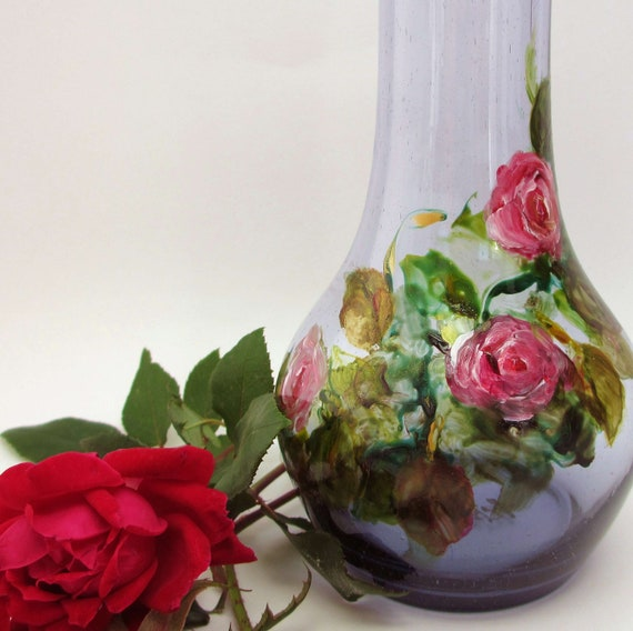 Pink Roses- Hand Painted Original Vase- Unique Amethyst Seedy Glass Vase