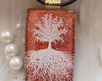 Tree of Life Dichroic Glass Pendant, Fused Jewelry, Necklace Included, A1