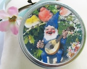 Blue Gnome in the garden Tooth Fairy Box with poem. Trinket/pill box.