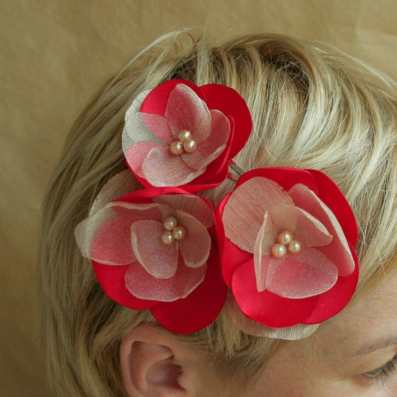 3 red/ivory flowers  for  bridesmaids and flower girls---head piece, hair pins