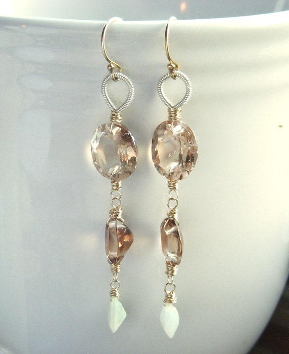Orla - Mismatched Gemstone Earrings - 14k Gold Filled - Russian Zircon and Welo Opal